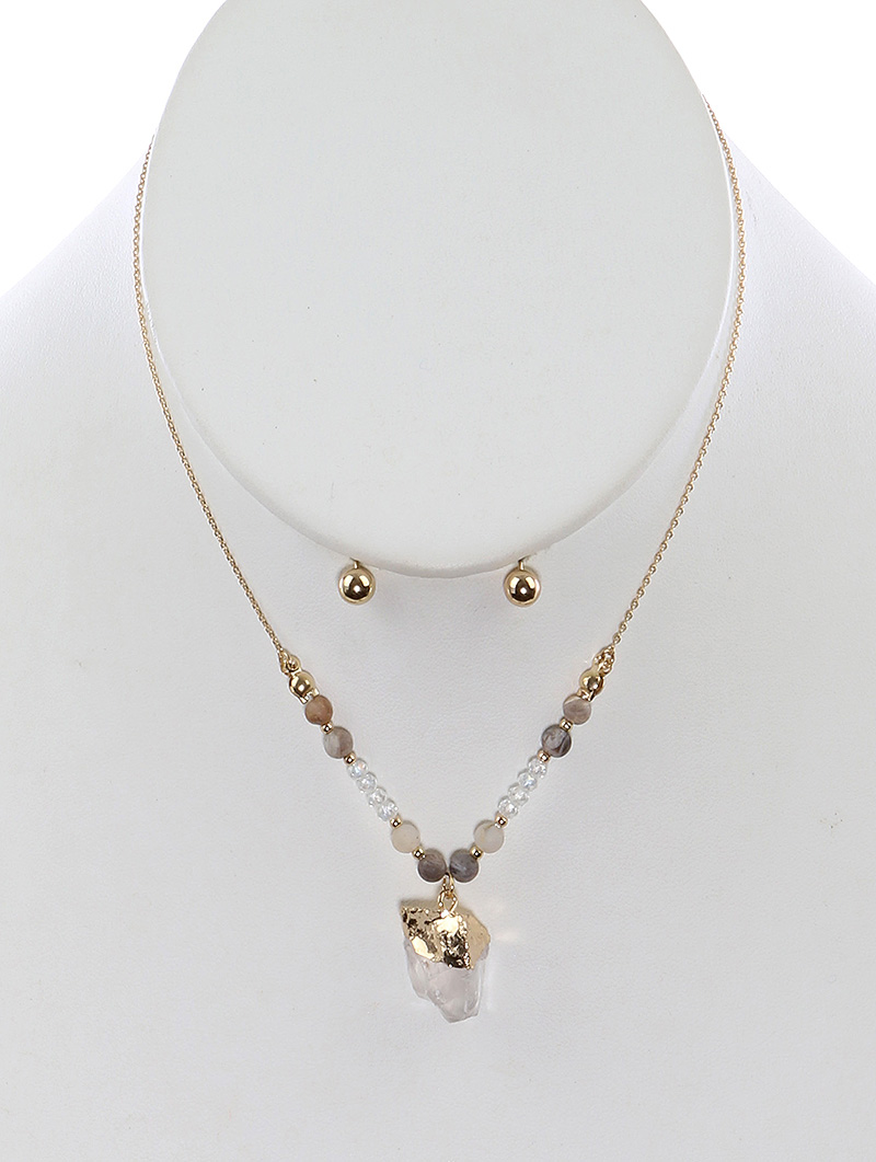Women Jewelry Necklace Set--PTS125989GDWHT